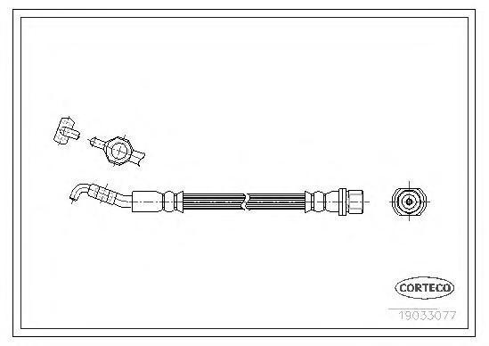 19033077 Шланг торм. Re 216мм TOYOTA Corolla 02-