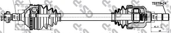 245152 Привод в сборе PEUGEOT 406 1.6-1.9D 95-04 лев. +ABS