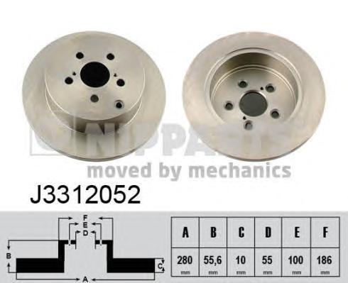 J3312052 Диск тормозной TOYOTA AVENSIS 1.6-2.4 03- задний