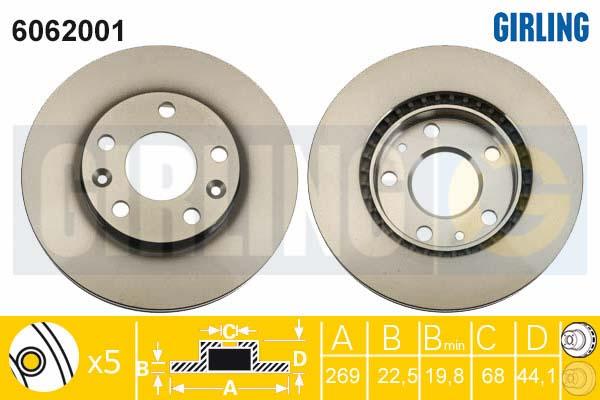 6062001 Диск тормозной RENAULT DUSTER 11- передний вент.D=269мм.