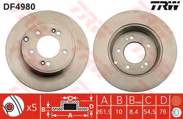DF4980 Диск тормозной HYUNDAI SONATA (NF) 2.4-3.3 05- задний