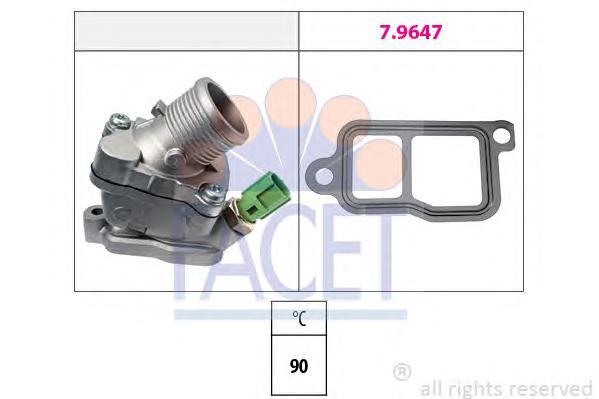 78606 Термостат (в корпусе) VOLVO: C70 II кабрио D5 06-, S40 II (MS) 2.4 D5 04-, S60 2.4/2.4 Bifuel/2.4 D/2.4 D5 00-, S80 (TS, X