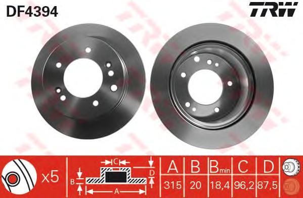 DF4394 Диск тормозной KIA SORENTO 02-09 задний