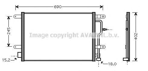 AI5199 Радиатор кондиционера AUDI: A4 (8E2, B6) 1.6/1.8 T/1.8 T quattro/1.9 TDI/1.9 TDi FSI/2.4/2.5 D/2.5 TDI/2.5 TDi quattro 00