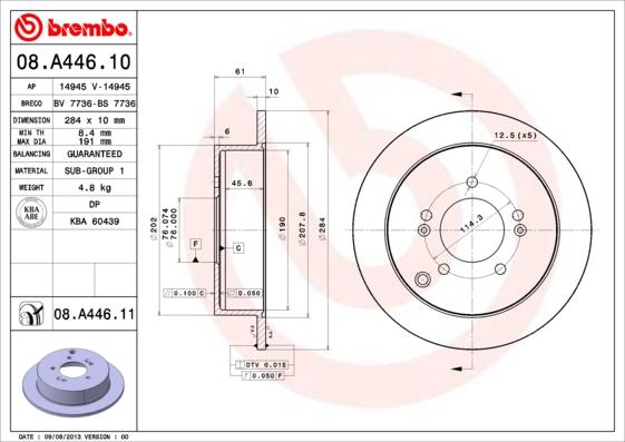 08A44610 Диск тормозной HYUNDAI ix35/SANTA FE (SM)/TRAJET/TUCSON/KIA SPORTAGE 04- задний