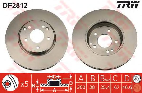 DF2812 Диск тормозной MERCEDES C209/W203/W210/A208/R170/R171 передний вент.