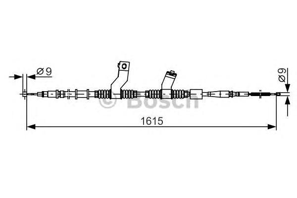 1987482353 Трос ручного тормоза CHEVROLET LACETTI 1615мм