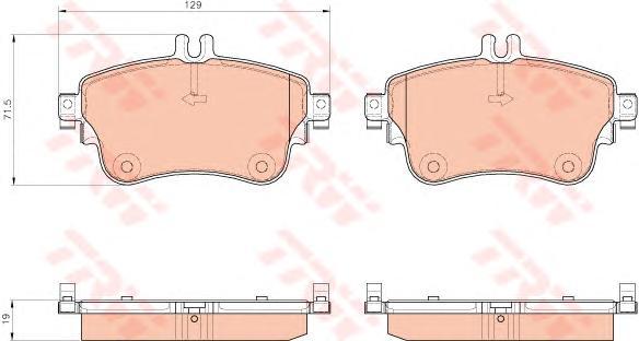 GDB1933 Колодки тормозные MERCEDES A(W176) 12-/B(W246) 11- передние L=129мм