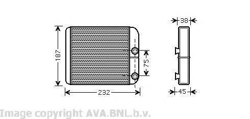 VO6129 Радиатор отопителя MITSUBISHI CARISMA 1.3-1.8/1.9D 95-03