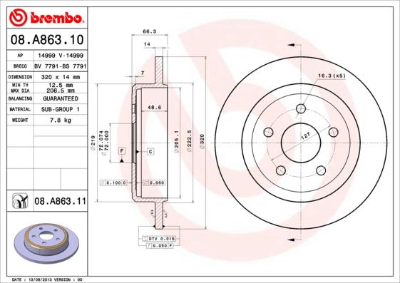 08A86311 Диск тормозной JEEP COMMANDER 05-/GRAND CHEROKEE II/III 00- задний D=320мм.