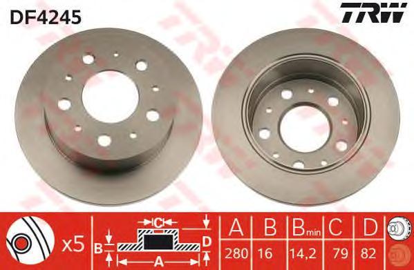 DF4245 Диск тормозной CITROEN JUMPER/FIAT DUCATO/PEUGEOT BOXER 94- задний D=280мм.