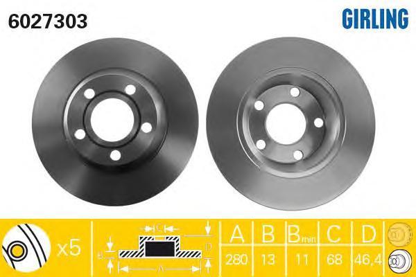 6027303 Диск тормозной AUDI A4 1.6-1.9 95-01 передний не вент.D=280мм.