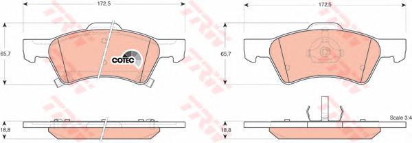 GDB4129 Колодки тормозные CHRYSLER VOYAGER/DODGE CARAVAN 00- передние 16