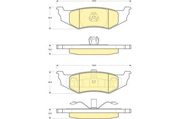 6141195 Колодки тормозные CHRYSLER 300M 98-04/PT CRUISER 01-/SEBRING 01-задние