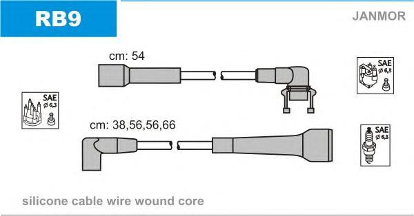 RB9 Комплект проводов зажигания RENAULT: 19 88-92, 21 86-95, SUPER 5 86-95