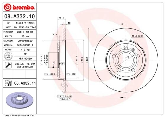 08A33210 Диск тормозной AUDI A4 1.8-3.2 04- задний D=288мм.