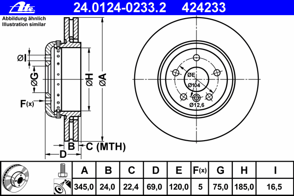 24012402332 Диск тормозной задн, 2-секционнный, BMW: 5 535 d/535 d xDrive/535 i/535 i xDrive/550 i/550 i xDrive/ActiveHybrid/M 5