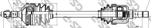 245159 Привод в сборе PEUGEOT 406 1.6-2.0 95-04 лев. +ABS