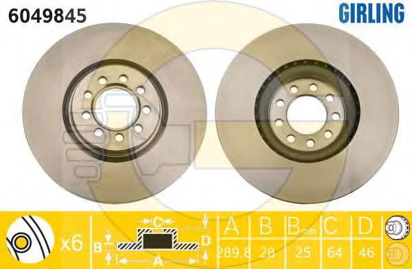 6049845 Диск тормозной IVECO DAILY III 06- передний вент.D=290мм.