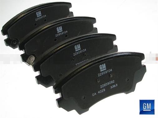22959104 Колодки тормозные дисковые передние / OPEL Astra-J,Insignia,Zafira-C