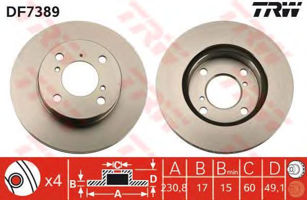 DF7389 Диск тормозной SUZUKI WAGON R+ 1.0 98-00 передний