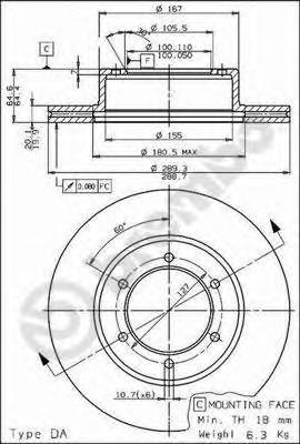 09517314 Диск тормозной TOYOTA 4 RUNNER 2.4-3.0 87-95/HILUX 92-/VW TARO 89-97 передний