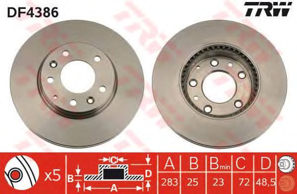 DF4386 Диск тормозной MAZDA 6 2.0-2.3 02- передний вент.
