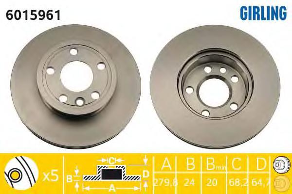6015961 Диск тормозной VW TRANSPORTER IV 1.9-2.8 90-03 передний D=280мм.