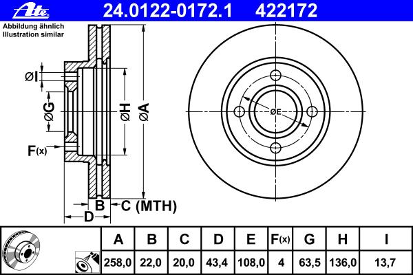 24012201721 Диск тормозной передн, FORD: FIESTA IV 1.25 i 16V/1.3 i/1.4 i 16V/1.6/1.6 16V Sport/1.8 D/1.8 DI 95-02, FIESTA V 1.2