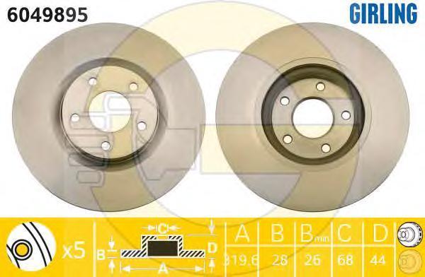 6049895 Диск тормозной NISSAN QASHQAI 07-/RENAULT KOLEOS 08- передний вент.D=320мм.