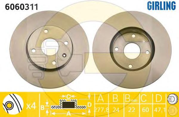 6060311 Диск тормозной CHEVROLET EPICA 2.0-2.5 05- передний вент.D=278мм