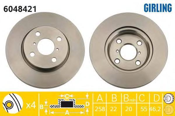 6048421 Диск тормозной TOYOTA YARIS 06- (пр-во Франция) передний вент.D=258мм.
