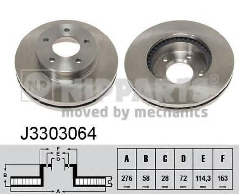 J3303064 Диск тормозной MAZDA MPV 96-99 передний вент.D=275мм.