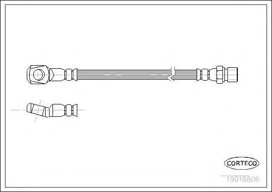 19018806 Шланг тормозной MERCEDES-BENZ: 100 c бортовой платформой D 88-96, 100 автобус D/D 88-96, 100 фургон D 88-96