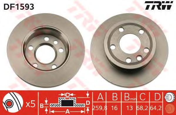 """DF1593 Диск тормозной WV TRANSPORTER IV R14"""" 90-03 передний не вент.D=260мм."""
