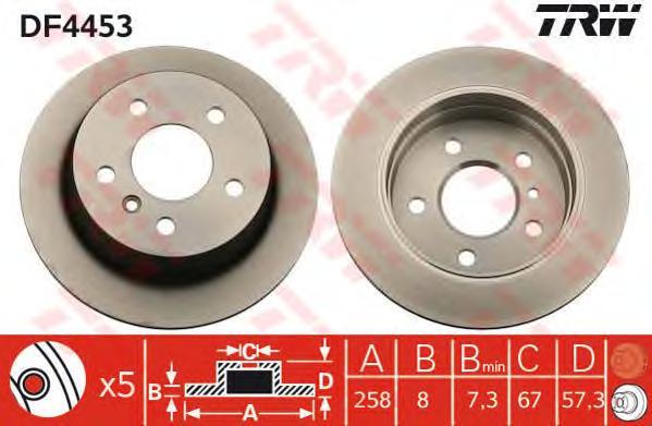 DF4453 Диск тормозной MERCEDES A-CLASS W169/B-CLASS W245 04- задний
