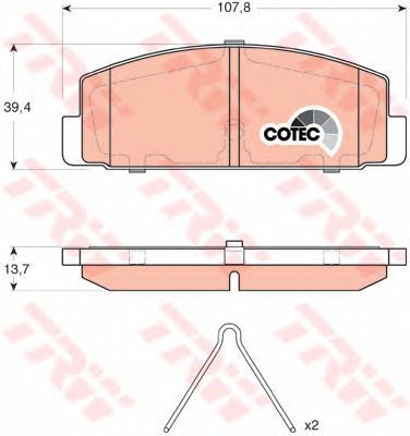 GDB3311 Колодки тормозные MAZDA 6 02/323 96/626 9202 (с установ.пруж.) задние