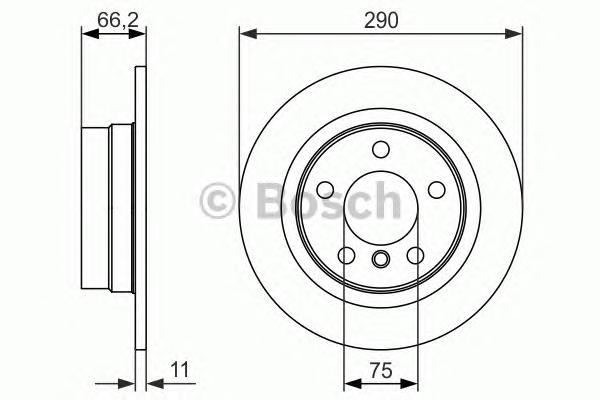 0986479043 Диск тормозной BMW 1 F20 116-118 10- задний D=290мм.