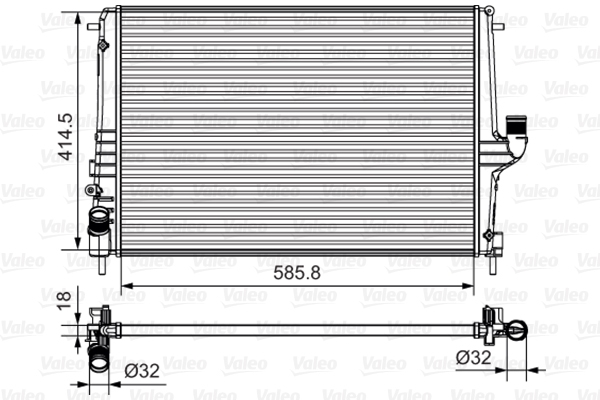 735635 Радиатор RENAULT LOGAN/SANDERO 08-/DUSTER 10- 1.6/1.5D / LADA LARGUS 1.6 12- AT