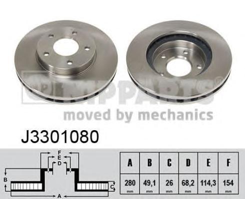 J3301080 Диск тормозной NISSAN MAXIMA J30 3.0 91-94/A32 2.0-3.0 97-00 передний D=280мм.