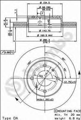 09525420 Диск тормозной NISSAN ALMERA (N16E) 0006/PRIMERA (P11E) 9602 передний вент.