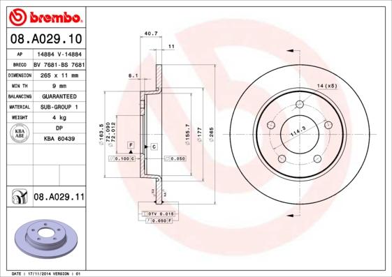 08A02910 Диск тормозной MAZDA 3 1.4-2.0 03- задний