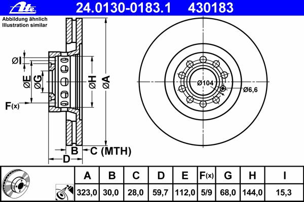 24013001831 Диск тормозной передн, AUDI: A6 S6 Plus quattro 94-97, A6 Avant S6 Plus quattro 94-97, A8 2.5 TDI/2.5 TDI quattro/2.