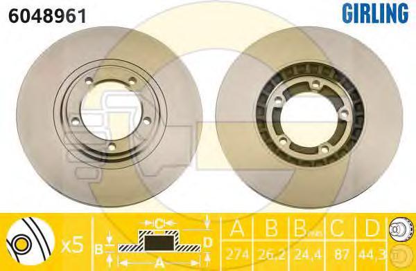 6048961 Диск тормозной HYUNDAI H1/STAREX 01-/PORTER 04- передний вент.D=274мм.