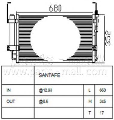 PXNCA014 Конденсер HY Santa Fe 01-06