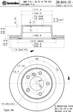09B41411 Диск тормозной BMW 1 E82 07- задний вент.D=300мм
