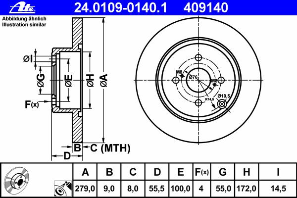 24010901401 Диск тормозной задн, TOYOTA: COROLLA 1.4 D/1.8 VVTL-i TS/2.0 D-4D 01-07, COROLLA Verso 1.4 D-4D 04-09, COROLLA седан