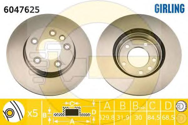 6047625 Диск тормозной VOLKSWAGEN TOUAREG 03/PORCHE CAYENNE 03 R17 передний лев.вент.