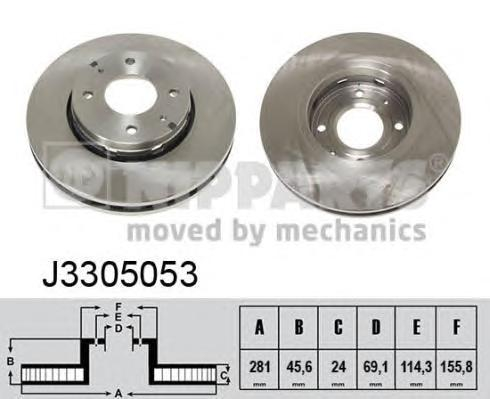 J3305053 Диск тормозной MITSUBISHI CARISMA 00-06/VOLVO S40/V40 передний вент.D=281мм.