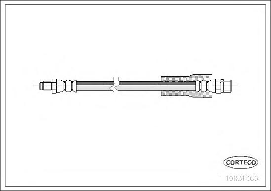 19031069 Шланг тормозной AUDI: A8 2.5 TDI quattro/2.8 quattro/3.7/3.7 quattro/4.2 quattro/S 8 quattro 94-02